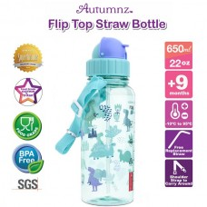 Autumnz - Flip Top Straw Bottle 650ml /22oz - Jurassic Forest
