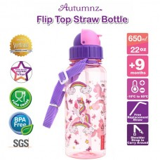 Autumnz - Flip Top Straw Bottle 650ml /22oz - Rainbow Unicorns