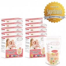 Autumnz - Double Zip-Lock Breast Milk Storage Bag  *12oz/350ml* (280 bags) - Pink Floral - 10 Boxes