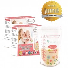 Autumnz - Double Zip-Lock Breast Milk Storage Bag  *12oz/350ml* (56 bags) - Pink Floral - 2 Boxes