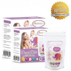 Autumnz - Double Zip-Lock Breast Milk Storage Bag  *3.5oz/100ml* (56 bags) - Purple Ellie Elephant - 2 Boxes