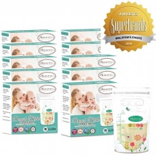 Autumnz - Double Zip-Lock Breast Milk Storage Bag  *7oz* (28 bags) - Turquoise Floral - 10 Boxes