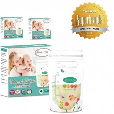 Autumnz - Double Zip-Lock Breast Milk Storage Bag  *7oz* (28 bags) - Turquoise Floral - 3 Boxes