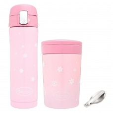 Autumnz - Chic SS Vacuum Flask & Food Jar 500ml Combo Set - Sweet Pink